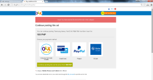 OLX's Ad purchase check out screen showing P100 instead of P10